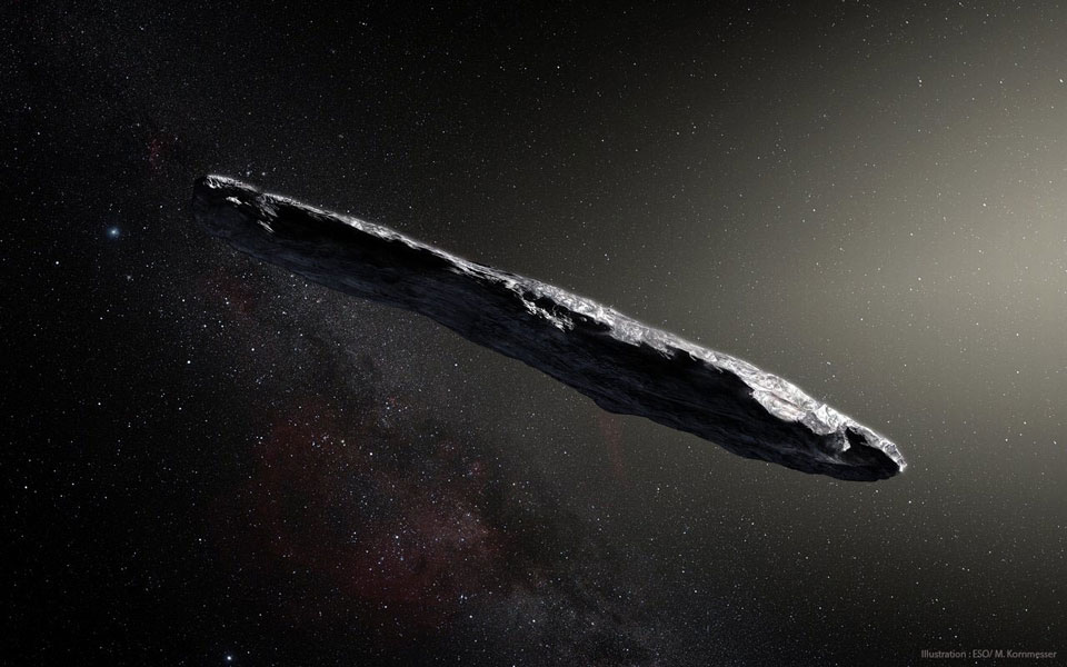 Immagine artistica dell'asteroide interstellare Oumuamua